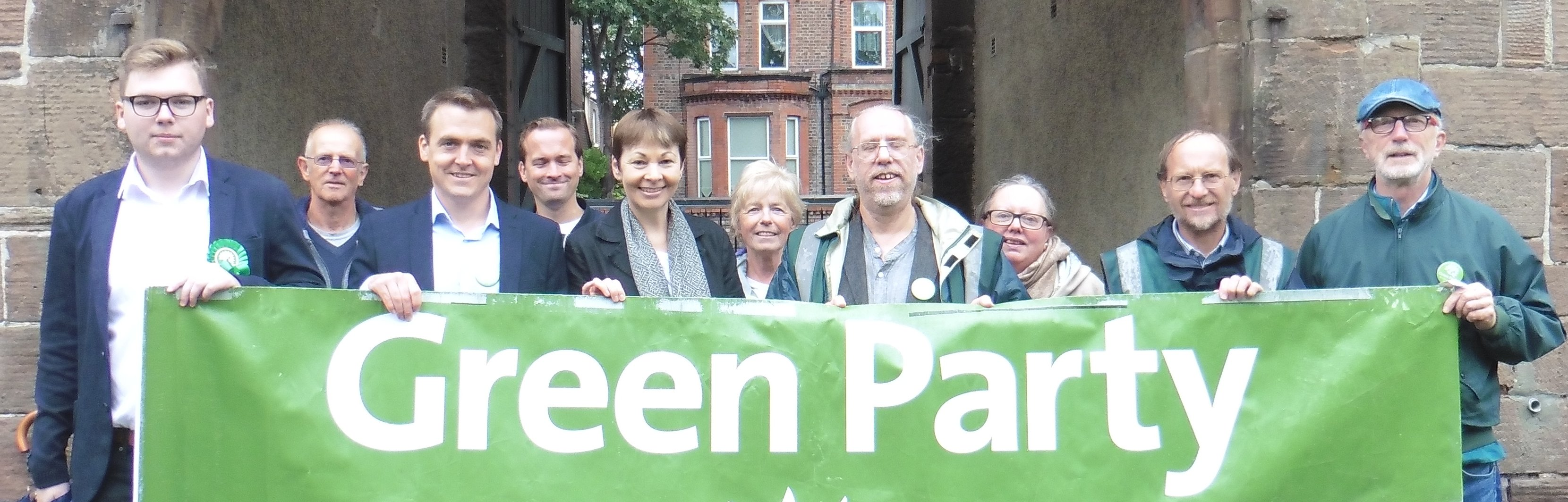 Caroline Lucas & Tom Crone with Sefton Green Party at Potters Barn